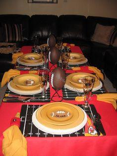 super bowl, red, dinner parties, football parties, footbal parti, kansas city chiefs, football centerpieces, chief footbal, tablescap
