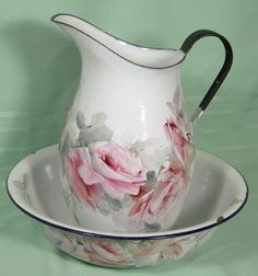 Antique Pitcher Bowl Set China HP Painted Roses Sweden