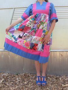 Vintage Vivid Patchwork Krist Gudanson Cotton Dress