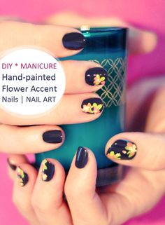 DIY Nail Art | Hand Painted Flower Accent Nails