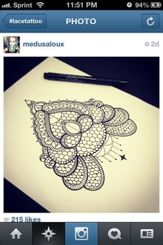 Lace tattoo idea; placement could be between the shoulder blades, up towards the neck. ❤️