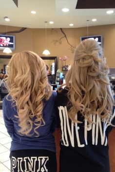 wedding hair down with big romantic curls and half up half down curly wedding day hair The one on the right