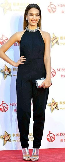 Jumping for jumpsuits! Jessica Alba rocked a sleek Pucci one-piece, a look she accessorized with a Thale Blanc clutch and Giuseppe Zanotti mules.