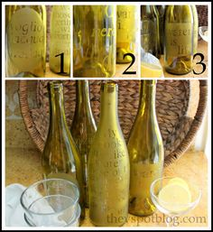 The V Spot: Upcycle: Turn a wine bottle into an etched water carafe.