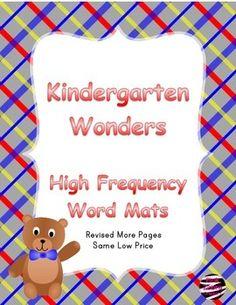 Kindergarten Wonders High Frequency Word Mats $