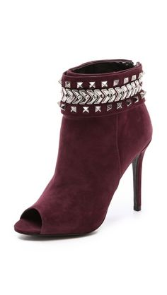 Schutz Besma Embellished Open Toe Booties