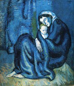 oil paintings, art museum, mothers, color blue, famous artists, blue period, children, blues, pablo picasso
