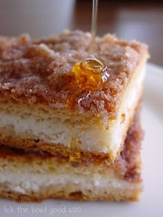 Sopapilla Cheesecake Bars - Down here, sopa's are a fried treat, served with honey. Try these, made from crescent rolls, of all things!  Confession:  I put a heaping spoonful of cinnamon in with the cup of sugar mixed with the cream cheese.  A.MAZE.BALLS!
