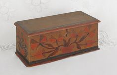 Sold For $2,200                                                          Miniature Pennsylvania painted pine blanket chest, ca. 1800, possibly Christian Seltzer, decorated with potted tulips on an ochre ground with black and salmon edges, retaining original strap hinges, 5 1/4'' h., 12 1/2'' w. Provenance: Sotheby's, January 2000.                            Condition report           Original strap hinges, some expected wear to edges of base molding, otherwise overall good condition.