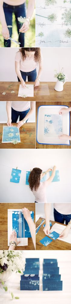 DIY Sun Print Wedding Escort Cards via oncewed.com
