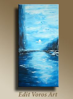 Original Abstract Painting Ocean Seascape on canvas of Blue Moonlight  Ready to hang