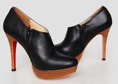 louboutin boots sheepskin wooden heels