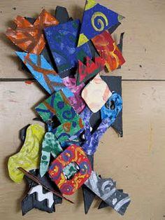creativ art, art project, 6th grade, art lesson, frank stella, sculptur, falcon academi, art rooms, 4th grade art