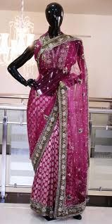 Bridal sarees are, generally, heavily embroidered with loads of sequin, moti, stone, thread and various other kinds of stylish work being carved. sequin, stone