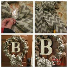 burlap wreaths, chevron burlap wreath tutorial, chevron wreath diy
