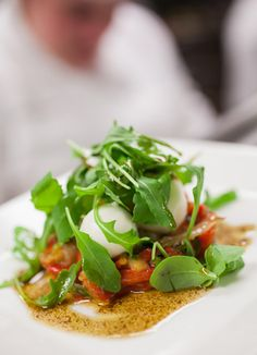 Arugula and mozzarella salad with roasted peppers I Ristorante Caterina de' Medici I The Culinary Institute of America
