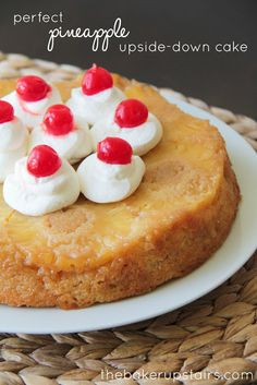 Perfect pineapple upside-down cake from The Baker Upstairs. A delicious moist cake with sweet caramelized pineapple. A perfect summer dessert!  http://www.thebakerupstairs.com