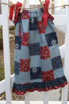 Cowgirl Pillowcase Dress in Red and Blue. $20.00, via Etsy.