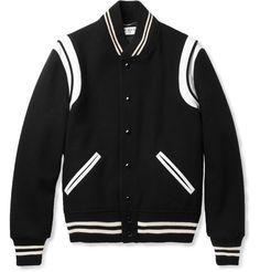 Saint LaurentLeather-Trimmed Wool-Blend Varsity Jacket