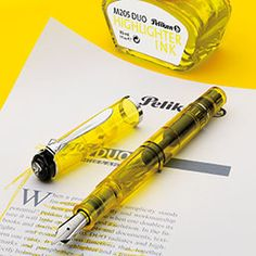A fountain pen highlighter and underliner  In the shade of summer sunshine and lemonade, the Pelikan Highlighter Fountain Pen delivers bright yellow ink for setting off text through its double-broad nib.
