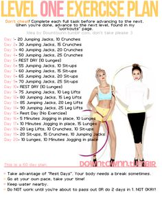 Level 1 Exercise Plan #workout #abs #legs #arms