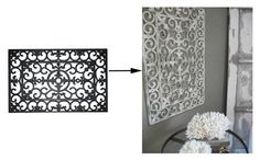 Rubber doormat spray-painted and then distressed to look like architectural detail. Easy to do and very pretty!