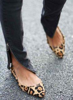 zippered jeans + leopard flats