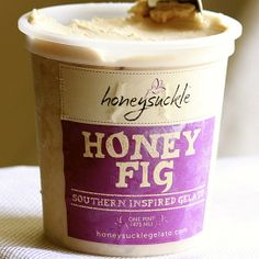 """""""Honeysuckle Honey Fig Southern Inspired Gelato"""" -- *slurp* -- """"Our honey fig gelato features delicious black mission figs complimented by honey from Savannah Bee Co. & a hint of cinnamon. The sweet honey coupled with the figs creates a perfectly balanced flavor!"""" honey fig, unoffici foodi, gelato, pints, foodi handbook, dessert"""