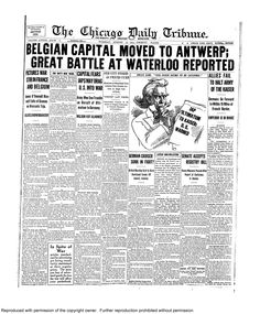Aug. 18, 1914: Belgian capital moved to Antwerp. A huge battle at Waterloo reported.