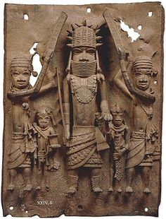 Benin plaque: the oba with Europeans. Benin, Nigeria, Edo peoples, 16th century AD.