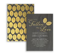 Fallen in Love Foil Wedding Invitation by David's Bridal #weddinginvites #fallweddings