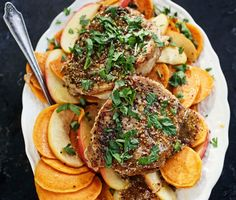 Sautéed Pork Chops with Sweet Potato, Apples and Mustard Sauce