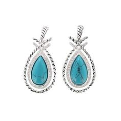 Montana Silversmiths Rope and Stone Teardrop Earrings