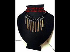 DIY NECKLACE FROM COFFEE STIR STICKS, easy recycled jewelry, jewellery m...