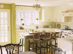 Lime green kitchen. Designer: Christopher Peacock. Photo: Laura Moss. housebeautiful.com