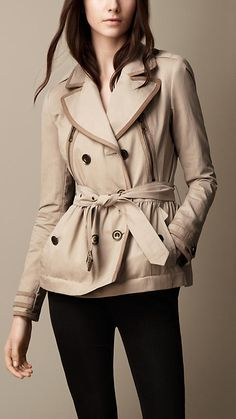 Short Suede Trim Trench Coat | Burberry