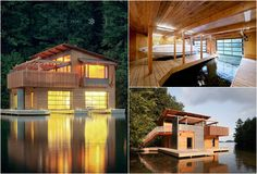 architect, cabin, glass doors, lake houses, wood boats, dream homes, houseboat, natural wood, dream houses
