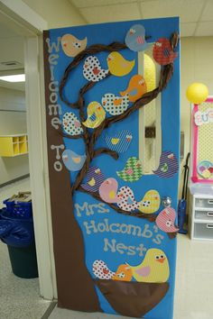"Using a bird and tree theme with the title ""Welcome to _____ (teacher's name) Nest"" is a fun title for classroom door display for the beginning of the school year.  I would write student names on each of the birds."