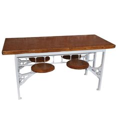 Industrial Factory Cafeteria Table by Urban Country - If you got limited space & a small family, this is cool...very cool