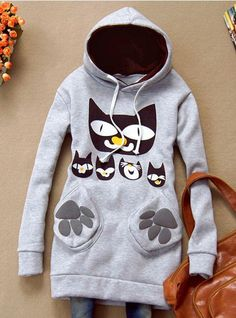 Gray Cat Pocket Hooded Sweatshirt$38.00