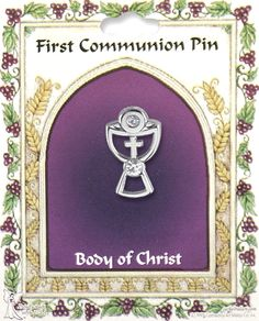 An outstanding brooch that is great as Communion gifts, the Body of Christ Communion Lapel Pin is an inspirational memento that signifies a person of Catholic faith. Specifically designed for Communion, the pin is highlighted in silver, outlining a Chalice. A prayer cross is etched on the center of the pin, an additional touch that brings more religiosity to its frame. Not only is this a thoughtful, affordable lapel pin perfect for First Communion gifts, this can also be wor...