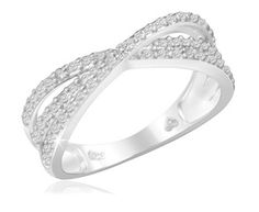 $19.99 - Diamond Accent Criss Cross Ring in Sterling Silver