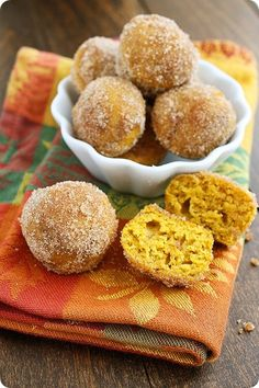 Baked Pumpkin Donut Holes - We make these constantly! SOOO YUMMY!!!!