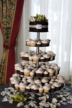 I like the idea of both big and little cupcakes here.