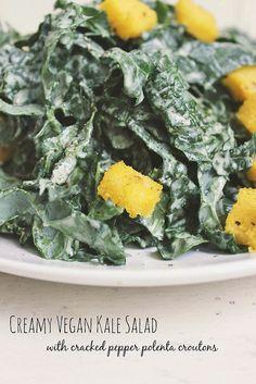 Creamy Kale Salad w/ Cracked Pepper Polenta Croutons – Gluten-free and Vegan - Tasty Yummies