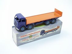 Dinky Toys Foden Flat Truck with Tailboard - Second Type Cab Violet Chassis and Cab - Orange Bed - Mid-Blue Hubs - Large Tow Hook £390