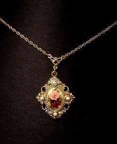 Vintage Necklace 1928 Jewelry Co Roses and by VintageTreasures