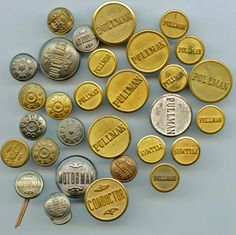 SOLD: Pullman Motorman Conductor Agent uniform buttons antique and vintage buttons