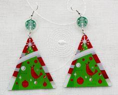 Christmas Tree STARBUCKS COFFEE Earrings Handmade From Upcycled Gift Card