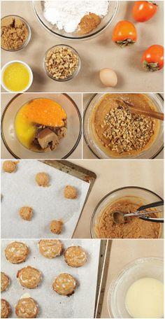 Persimmon Cookies w/ Orange-Bourbon Glaze
